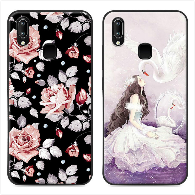 TPU Silicone Back Painted Case For vivo Y95 Case vivoY95 Back Cover Housing shell Phone coque For vivo Y95 V1807 Fundas case #KO