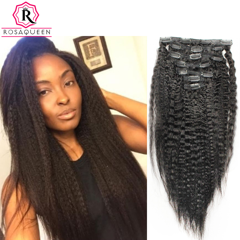 Kinky Straight Clip In Human Hair Extensions Natural Brazilian 7A African American Coarse Yaki Clip In Hair Extensions Clip Ins