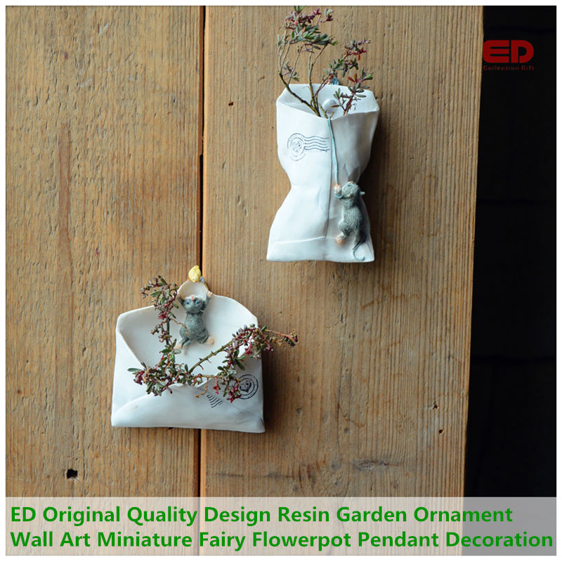EVERYDAY COLLECTION Cute Cat Resin Garden Ornament Vertical Wall Planters Miniature Mini...