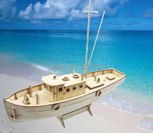 NIDALE Model Laser-cut Wooden sailboat model building kit: NXOS Fishing boat Model educational toy Gift