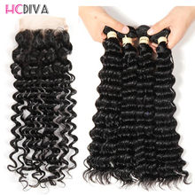 HCDIVA Pre-colored Human Hair Bundles With Closure Deep Wave Peruvian Hair Weave Bundles Non Remy 4 Bundles With Closure 5 pcs(China)
