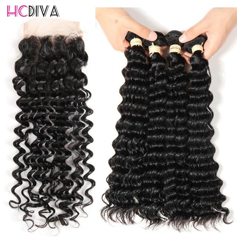 HCDIVA Pre-colored Human Hair Bundles With Closure Deep Wave Peruvian Hair Weave Bundles Non Remy 4 Bundles With Closure 5 pcs