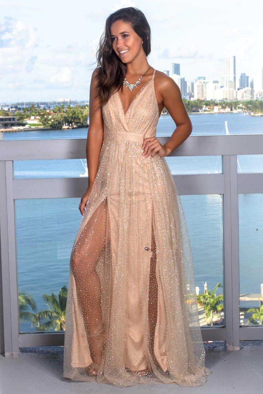 Simple Elegant A-line   Prom     Dress   Long High Slit Tulle Dresess V-neck bestidos de fiesta