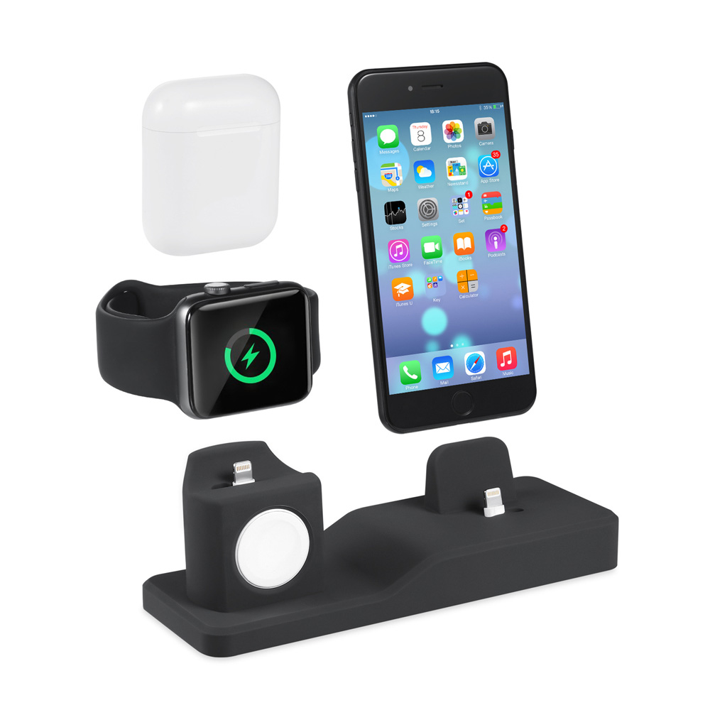 Soporte de cargador AIYIMA 3 en 1 para iPhone X XR XS Max 8 7 6 Apple Watch Airpods iWatch soporte estación Dock