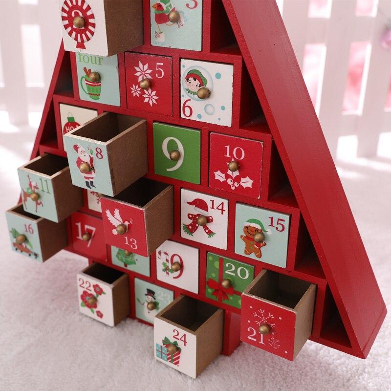 Рождественская елка дом с ящиком Рождественское украшение креативная Деревянная Рождественская елка, конфеты для хранения X'mas календарь о... - 3
