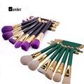 15 Pcs Professional Make up Brushes Set Fundação Blush Em Pó Sombra Blending Escova Sobrancelha Ferramentas Kit Roxo/Verde