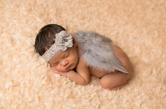 2pcs/set Chic New Newborn Lace Headband + Feather Angel Wings Outfit Baby Girls Feather Wing And Headband Set Photo Props