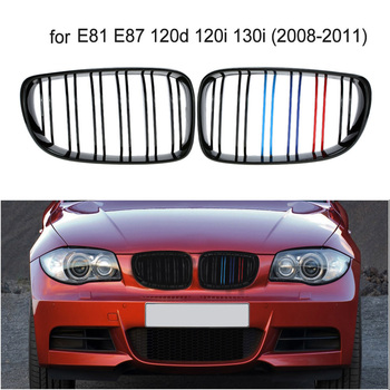 شبكية الرادياتير الأمامية شواء ل BMW E81 E87 120d 120i 130i 1 سلسلة 2008-2011 الشواية الجبهة ABS لامع مصبغة تجميل كابريوليه