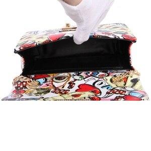 Image 5 - 2019 новые сумка женская летние дизайнерские дамские сумки с граффити Высококачественная мини сумка с цепочкой женские сумки мессенджеры для женщин клатч сумки женские сумка сумка женская через плечо