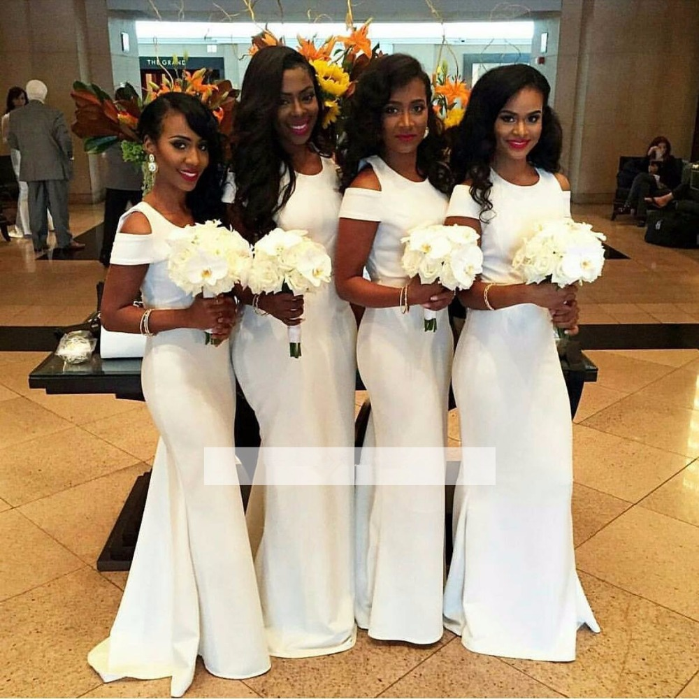White 2019 Cheap   Bridesmaid     Dresses   Under 50 Mermaid Cap Sleeves Long Wedding Party   Dresses