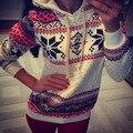 Outono Inverno Mulheres Xmas Do Floco De Neve Camisola Hoodies Top Suores Pullover de Lã Novo Plus Size