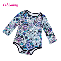 Skull Print Infant Girls Halloween Bodysuit Novelty Baby Clothes For Halloween Carnival Party Cosplay Newborn Clothes