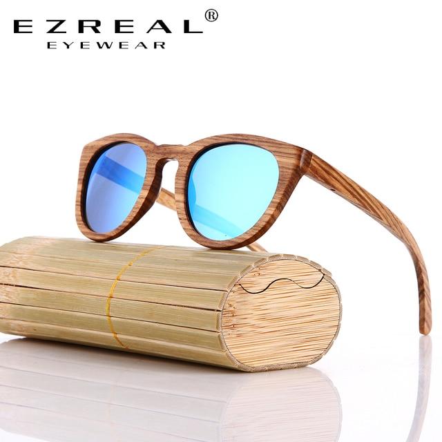 0b9795f57f EZREAL Zebra Wood Sunglasses Box Handmade Women Fashionable Wooden Glasses  Mirror Polarized Eyewear Male Oculos de sol