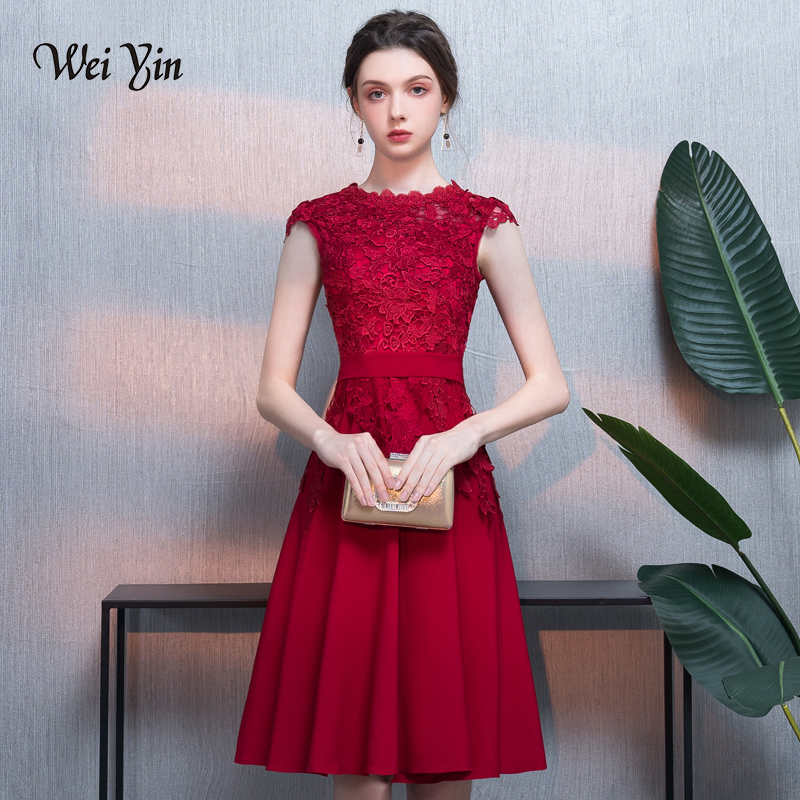 weiyin 2018 Elegant   Cocktail     Dresses   Straight Cap Sleeves Knee Length Lace Homecoming   Dresses   WY774