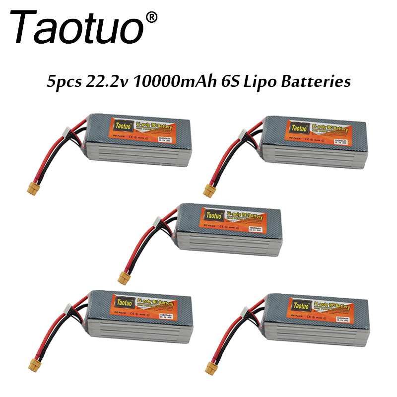 5pcs/lot Taotuo Lipo Battery 22.2v 10000mah Lithium Polymer 30C 6S XT60 Plug For RC Car Helicopter Quadcopter FPV Dron Bateria wholesale 504260 3 7v lithium polymer battery length 60 width 42 thickness 5mm