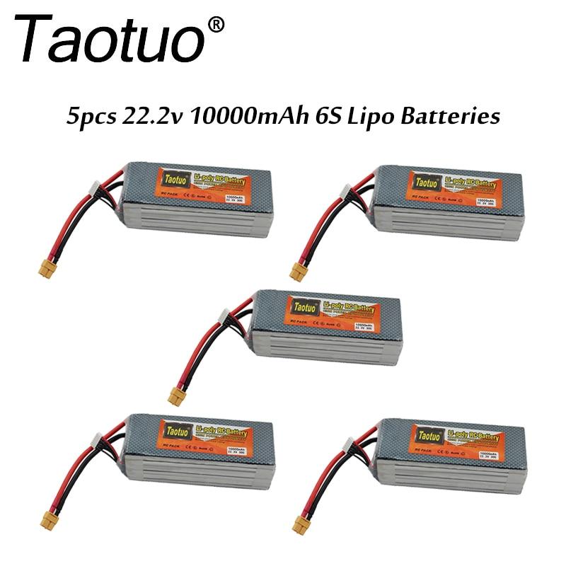 5pcs/lot Taotuo <font><b>Lipo</b></font> <font><b>Battery</b></font> 22.2v <font><b>10000mah</b></font> Lithium Polymer 30C <font><b>6S</b></font> XT60 Plug For RC Car Helicopter Quadcopter FPV Dron Bateria