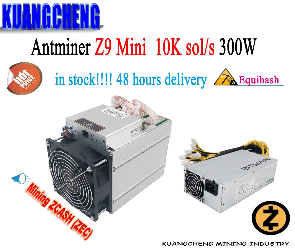 Free Shipping KUANGCHENG ZCASH Miner Antminer Z9 Mini 10k Sol/s 300W Asic Equihash Miner With APW3 PSU ZEC BTG Good Profits