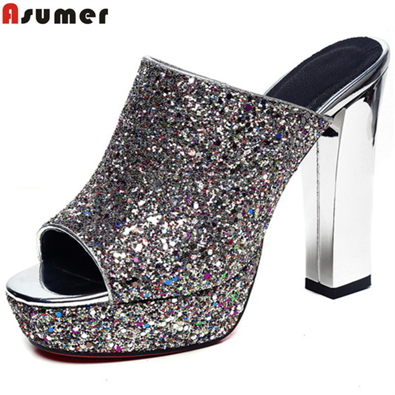 Asumer 2018 hot sale new arrive women sandals fashion peep toe solid color high heels summer shoes elegant lady prom shoes