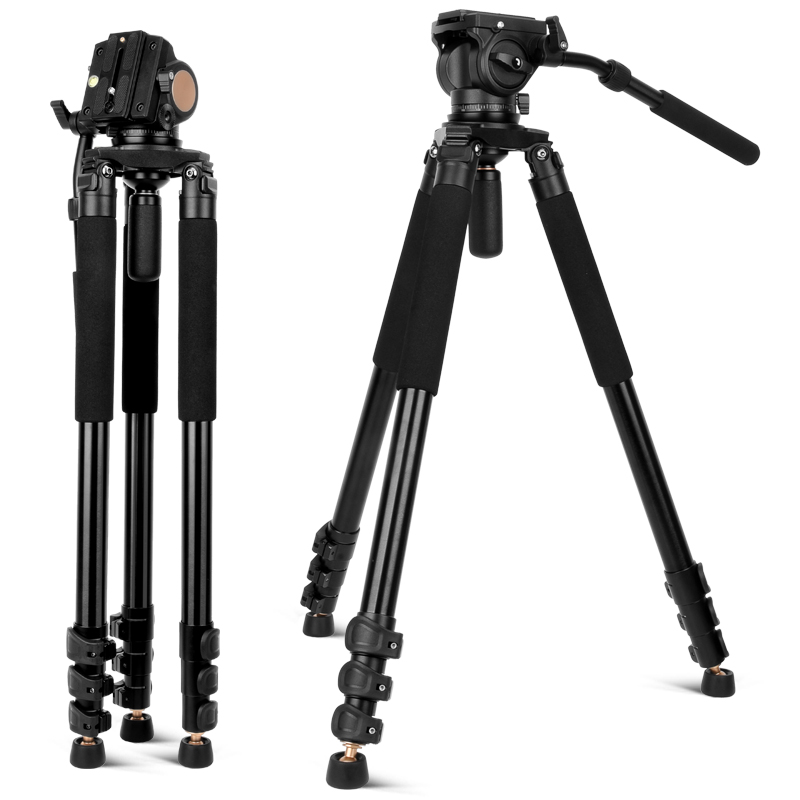2018 Q680 new upgrade flip leg lock professional camera tripod 192cm heavy duty tripod lit with free rotary Q90 handle pan head