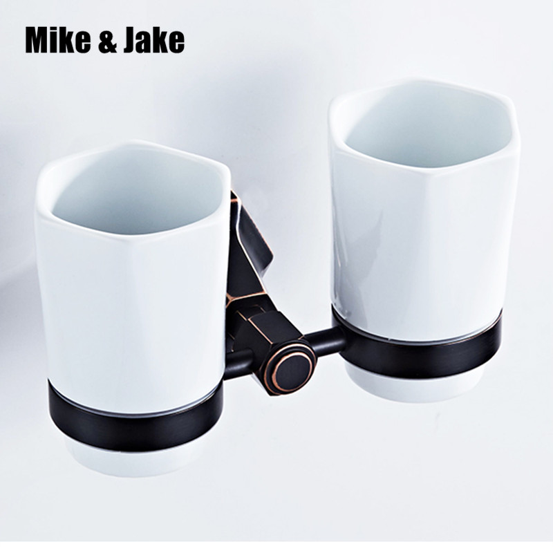 Bathroom Cup Tumbler Holders Brass wall Cup Bathroom Accessories Gold Double Cup Tumbler Holders Toothbrush Cup Holders fashion style double tumbler holder toothbrush cup holder brass base with gold finish glass cup bathroom accessories page 10