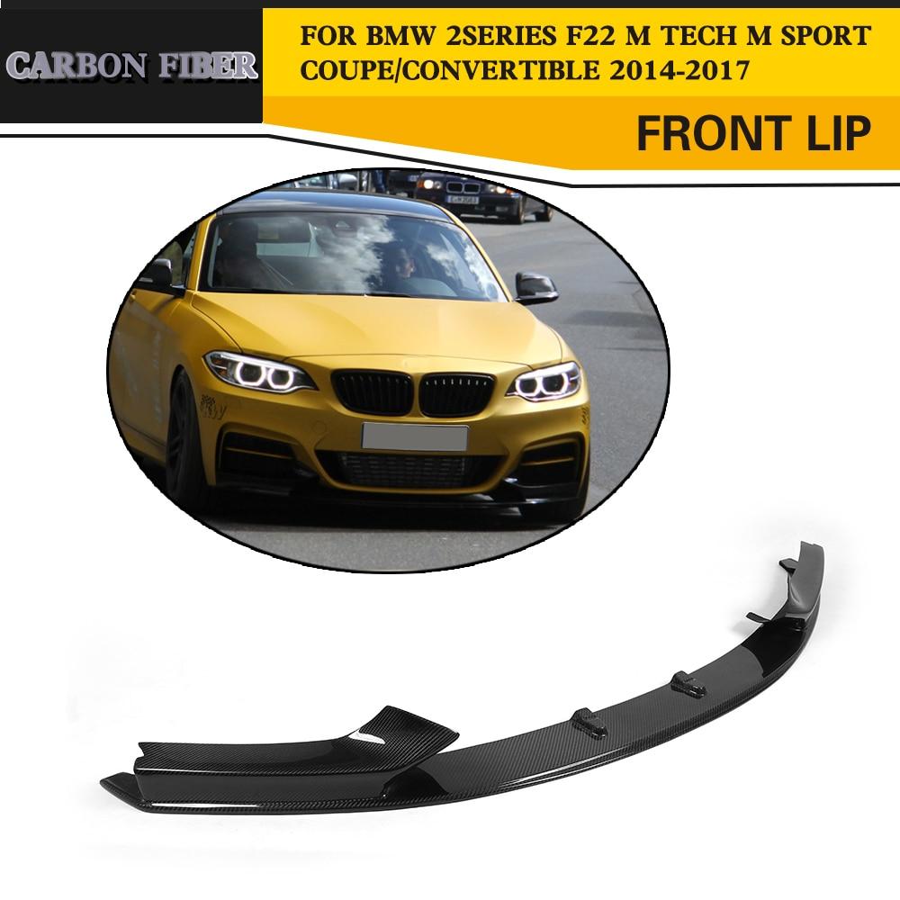 2 Series Carbon Fiber Car Front Bumper Lip spoiler for BMW F22 M Sport Coupe Only 14-17 Convertible 220i 230i 235i 228i