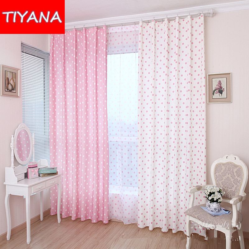 Child window circles pink curtains for living room kids - Childrens bedroom blackout curtains ...
