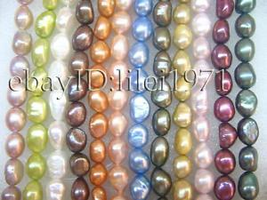 """12 Strands / Lot A 8x9-11x12mm Luster Mix color Baroque Natural Freshwater Pearl Loose Beads 15"""" each strand"""