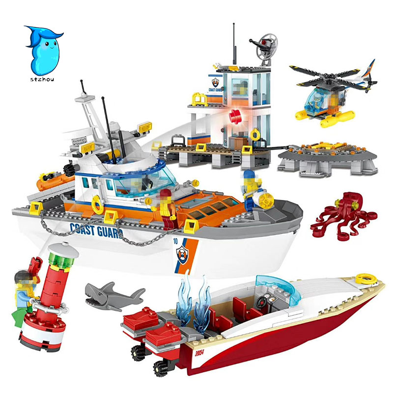 Stzhou Lepin 39054 834Pcs City Series Police Coast Guard Headquarters Base Building Blocks Toy With DIY Educational Toys 4695pcs lepin 16001 city series firehouse headquarters house model building blocks compatible 75827 architecture toy to children