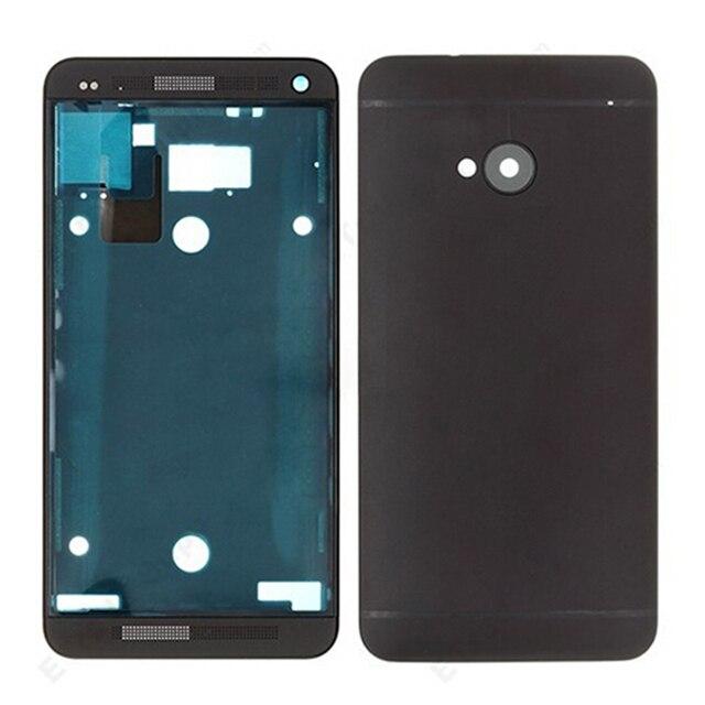 Бесплатная Доставка OEM Черный Полный Жилищно Крышка Корпуса Рамка Батареи дверь Камеры Для HTC One M7 801e Телефон С Логотипом