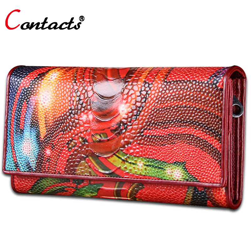CONTACT'S Female Wallet Genuine Leather Wallets Women Coin Purse Colorful Clutch Female Purse Handy Bag Luxury Perse Card Holder sendefn luxury women wallets genuine leather designer brand long clutch purse party woman leather wallet female card holder coin