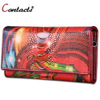 CONTACT S Female Wallet Genuine Leather Wallets Women Coin Purse Colorful Clutch Female Purse Handy Bag