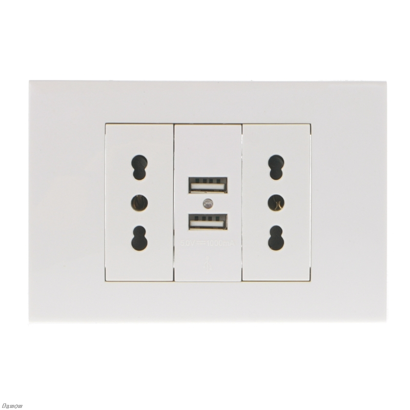 16A WallDouble Italian/Chile Plug Power Socket Adapter Dual USB Ports Panel 5V 1A Damom cafe tacvba chile