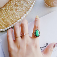 3pcs Vintage Gold Color Index Finger Rings for Women Personality Green Crystal Rhinestone Joint Ring Set Party Jewelry Gift vintage cross decorated index finger women men s ring