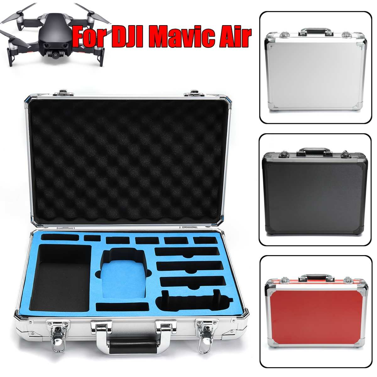 a Black Silver Red large capaweight Standard Type Carrying Case for DJI Mavic Air