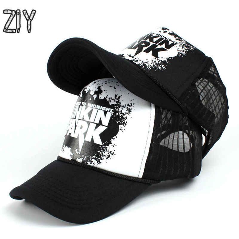 4a4cd6aa520 linkin park mesh cap snapback baseball cap men women adjustable bone trucker  dad hat cap brand