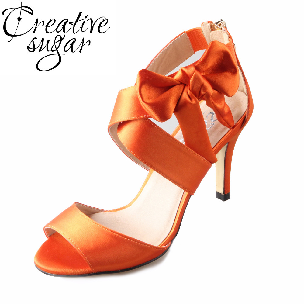 Creativesugar Sweet crossed strap bow sandals burnt orange bridal dress shoes wedding summer evening party prom 8cm heels satin цена