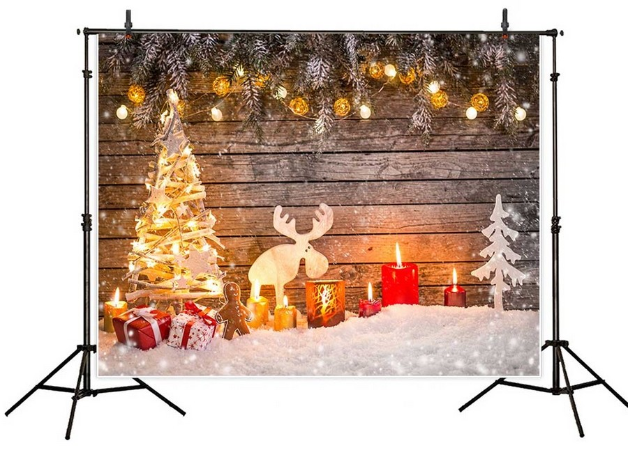 5x7ft snow winter gold light Christmas tree gifts backdrop Vinyl cloth Computer printed wood party studio