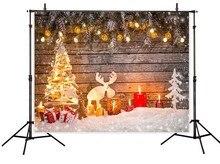 Luz ouro presentes da árvore de Natal da neve do inverno cenário Vinil 5x7ft fundo do estúdio de pano Computer impresso festa de madeira