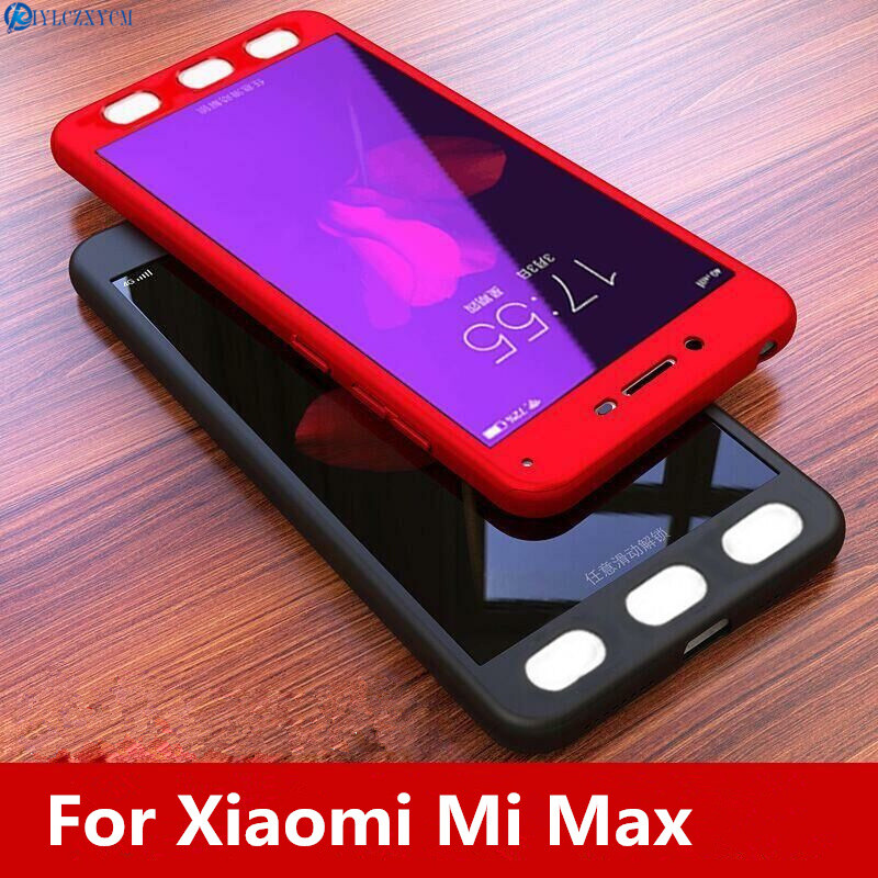 KIYLCZXYCM 360 Degree Full Cover Case For Xiaomi Mi Max Case 6.44with Tempered Glass Case on For Xiaomi MiMax Mi Max Phone Case