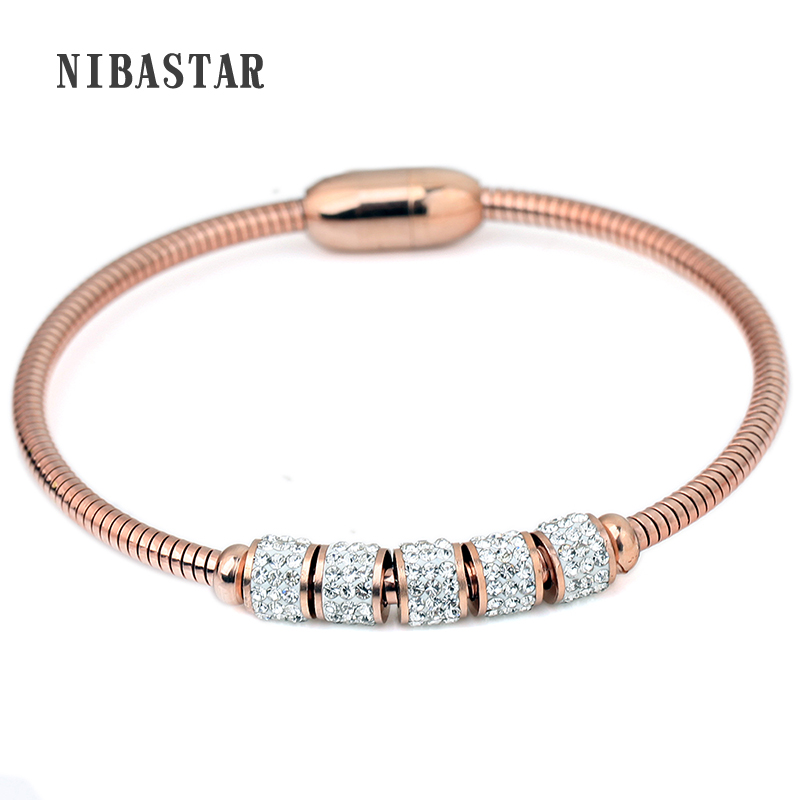 Three Color Stainless steel Crystal Charm Women Bracelet & Bangle with Magnet Clasp Drop Shipping