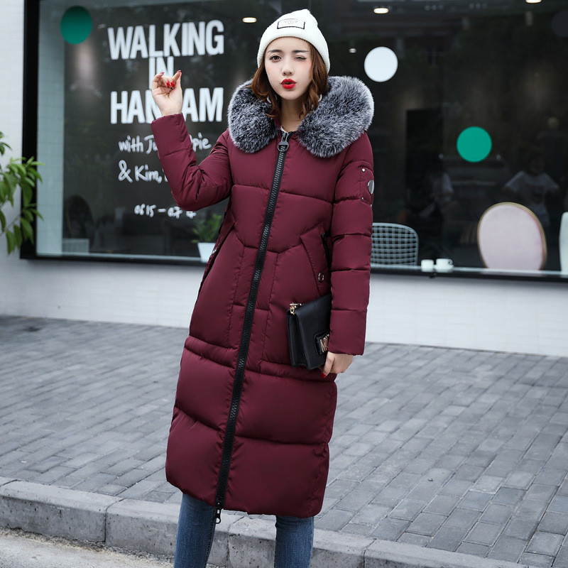 Long Russian Style Fur Collar Hooded Women Snow Wear Winter 2017 Thick Women Coat Cotton Padded Parkas Female Outwear QX371 snow wear 2017 high quality winter women jacket cotton coats fur collar hooded parkas fashion long thick femme outwear cm1346