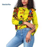 Dashiki Women African Clothing Top Shirt Bazin Riche African Print Draped Bow tie Button Top Shirts African Women Clothes WY3677