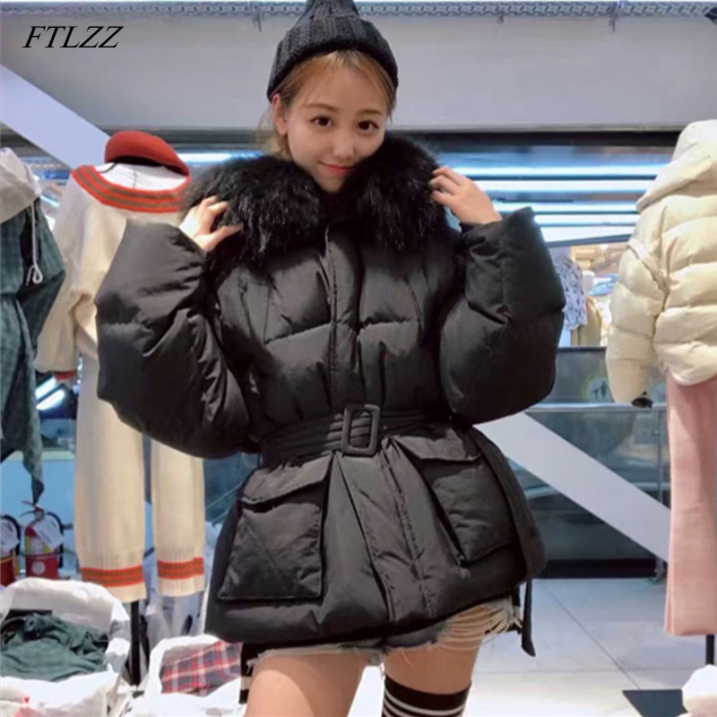 FTLZZ Winter White Duck   Down   Jackets Women Large Natural Raccoon Fur Hooded   Coats   Korean Style Parkas Thicken Snow Outwear