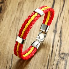 f41917a6021c Para hombre pulsera Nacional de España bandera deportes 3 hilos cuerda  trenzado surfista del brazalete de cuero de esposas joyer.