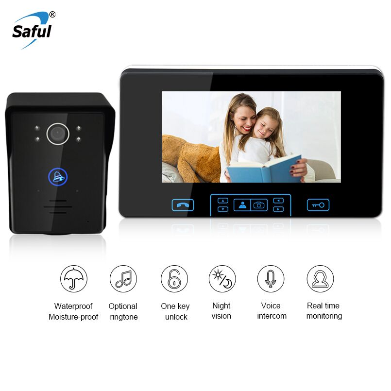 Saful Newest 7 Inch Video Door Phone Wireless Intercom Monitor Waterproof Video Doorbell IR Night Vision Door Camera/Viewer