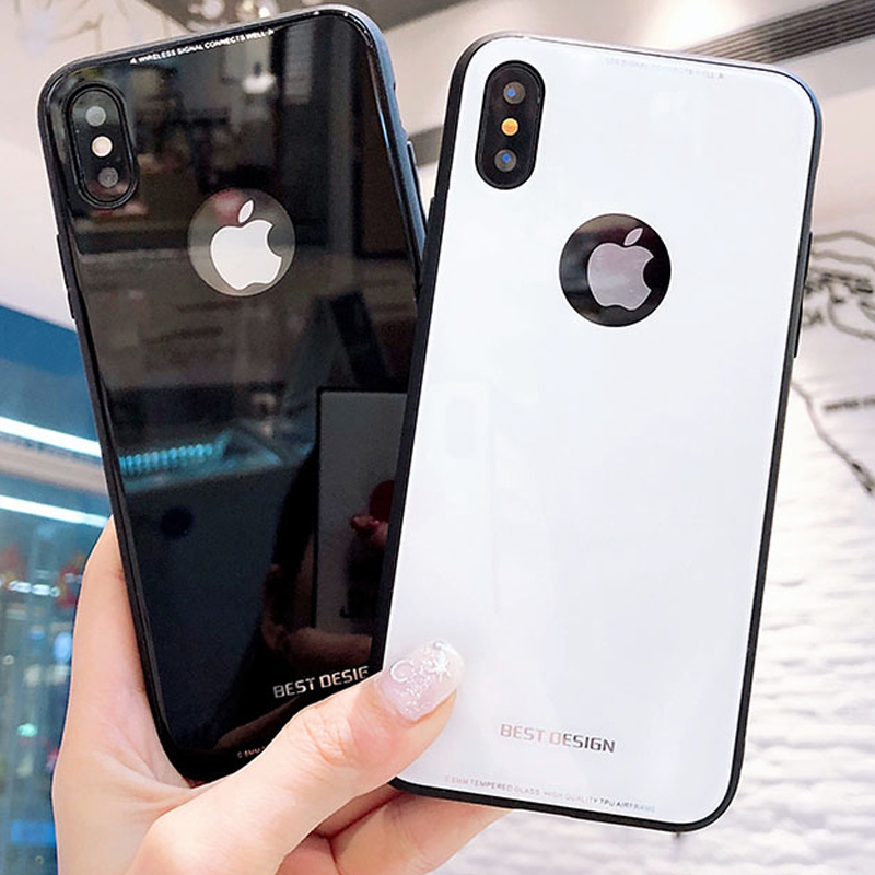 Luxury Fashion bright Protective Tempered Glass Case For iPhone 6 6s 7 8 Plus X Phone Bag Cases Heavy Duty Shell 7Plus 8Plus