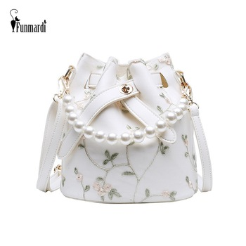 FUNMARDI Fashion Lace Shoulder Bags Women Pearl Design Tote Ladies Bucket Crossbody Composite Woman HandBags WLHB1916