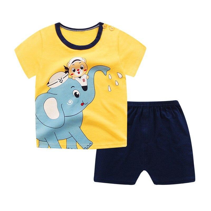 2PCS Summer Stylish Baby Boys Casual Clothes Set Infant Kids Cartoon Short-sleeved Top+Shorts Sets Newborn Newly Fashion Suit