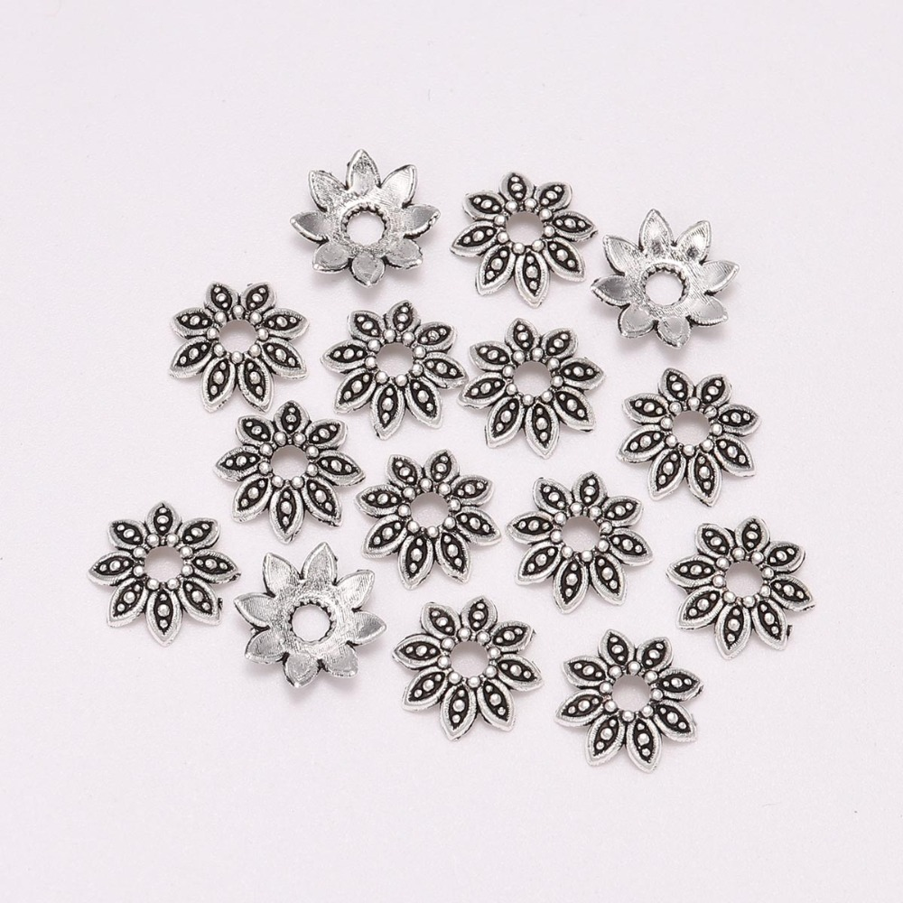 100pcs/Lot 7 9 13 Mm 8 Petals Antique  Relief Flower Loose Sparer End Bead Caps For DIY Jewelry Making Findings Earrings