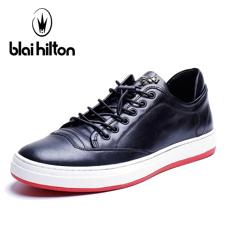 Blai Hilton 2018 New Spring/Autumn 100% men shoes luxury brand Genuine Cow Leather shoes Comfortable Men's Casual Shoes new 2018 spring autumn 100